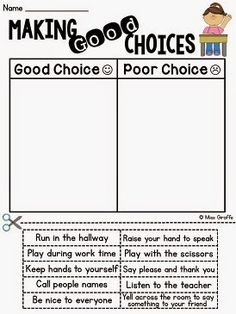 Making good choices sort to help with classroom management {How to Tackle Tattling in the Classroom}