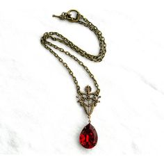 Garnet Pendant Necklace, Vintage Glass, Red Necklace, Pear Shaped,... ($32) ❤ liked on Polyvore featuring jewelry, necklaces, jewelry necklaces, vintage pendant necklace, glass pendant, pendant necklace, glass pendant necklace and toggle chain necklace