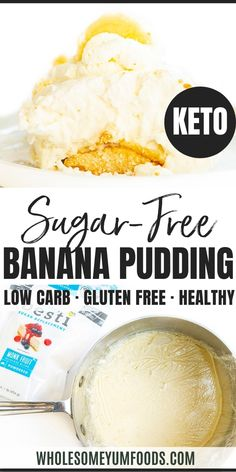 Sugar-Free Keto Banana Pudding Recipe - This low carb keto banana pudding recipes makes an impressive keto layer dessert! Sugar-free banana pudding features 3 irresistable layers, with just 4.4g net carbs. #wholesomeyum