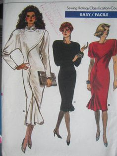 See Sally Sew-Patterns For Less - Close Fitting Dress Classic Vintage 1987 Vogue 7039 Pattern Sz. 10, $10.99 (http://stores.seesallysew.com/close-fitting-dress-classic-vintage-1987-vogue-7039-pattern-sz-10/)