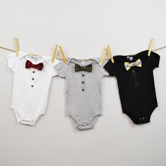 Baby Bowtie Onesie - Choose your print - Removable Bowtie