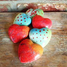 Earth Wool & Fire Ceramic Hearts.