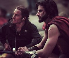 """@marctrottier #BTS Throwback to filming """"300"""" alongside #MichaelFassbender. Good times. Missing my spartan family☺️"""