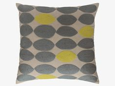 TRILLO Grey embroidered cushion 60 x 60cm