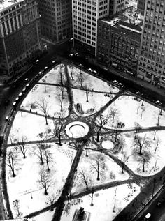 An aerial view of Grand Circus Park in the snow, circa 1934.