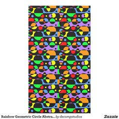 Rainbow Geometric Circle Abstract Modern Art Kitchen Tablecloth #decampstudios