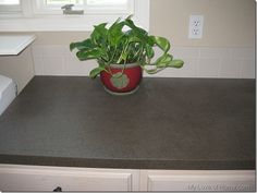 """How to spray paint laminate counter tops. Note that she does an update at the end of her directions: """"skip the spray on polyurethane altogether and go with the brush on poly instead"""". Read all the comments. Decor, Home Diy, Diy Sprays, Stone Countertops, Home Improvement, Diy Countertops, Spray Paint Countertops, Diy Spray Paint, Home Decor"""