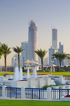 City skyline from the Corniche, Abu Dhabi, United Arab Emirates, Middle East