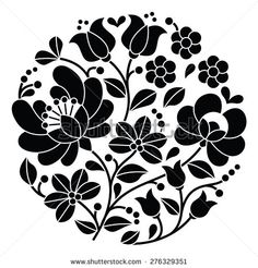 Kalocsai black embroidery - Hungarian round floral folk pattern by RedKoala #folkart #Hungary