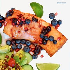Grilled Salmon with Blueberry & Pomegranate Molasses Compote #seafood, #salmon, #grilling, summer