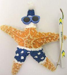 Starfish Christmas Ornament  Skiing Santa by CereusArt on Etsy, $20.00