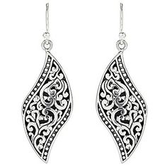 "Artisan Silver by Samuel B. 1.75"" Balinese Design Drop Earrings"