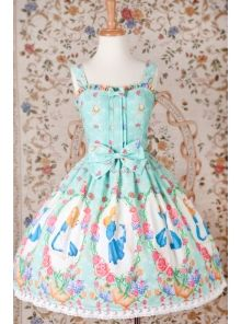 Alice Printing Nylon Fabric Braces Lolita JSK