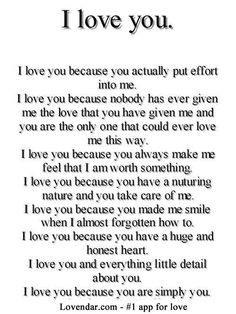 I like this. Sometimes it's hard to put into words why you love someone.