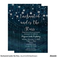 Enchanted under the Stars Silver & Blue Invitation