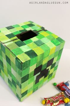 Minecraft Valentine's Box! Super adorable DIY Valentine's Day Card Box holder or candy/treat box idea! Such a cute craft for your boys or girls classroom Valentines party at school! So #plaidcrafts #modpodge #applebarrel