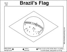 Brazil's flag is a deep green banner with a yellow diamond enclosing a night-blue, star-studded Southern Hemisphere sky Brazil Art, Brazil Flag, Girl Scout Activities, Lego Activities, Rio Carnival, Carnival Themes, Independence Day Activities, Life Skills Class, Flag Coloring Pages
