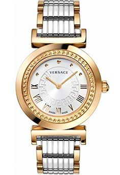Gold Vanitas with White Dial from Versace Women's Collection. A brand-new collection for women joins the Versace line of watches: Vanity. Logo Versace, Versace Gold, Versace Men, Gold Watches Women, Watches For Men, Wrist Watches, Men's Watches, Jewelry Watches, Stainless Steel Watch