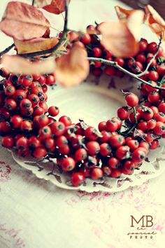 ♥ Lovely, ruby-hued rosehip wreath, either to hang or surround a chubby Fall…