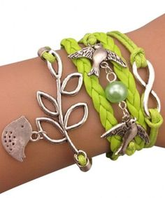 Lime Green Birds Arm Party Bracelet ♥ SO cUte!