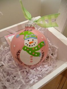 Hand Painted Baby Girl First Christmas by MyArtisticEscape on Etsy