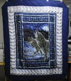 "Wolf Fabric Panel quilt by ""justme"" from the quiltingboard.com"