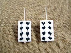 Black and white earrings with hearts polymer clay and sterling silver by Les folles Marquises, $39.00