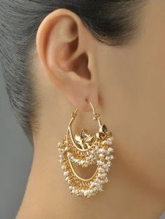 Cute Jewelry, Pearl Jewelry, Indian Jewelry, Gold Jewelry, Jewelery, Jewelry Accessories, Jewelry Design, Silver Earrings Online, Buy Earrings