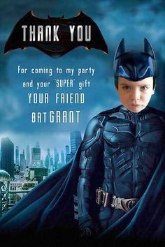 BATMAN Invitation Birthday Batman Party Batman versus