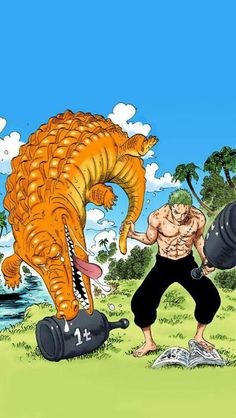 Zoro lifts aligator <<< and read books at the same time