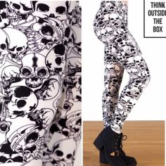 CATACOMBS PRINT BLACK & IVORY SKULL LEGGINGS Skulls are a year round novelty these days and these black & ivory cuties are fabulous. Micro Fiber, Polyester/Spandex, super stretchy and soft. Fits size 2-14, extremely stretchy. Made in USAPLEASE DO NOT BUY THIS LISTING! I will personalize one for you. tla2 Pants Leggings