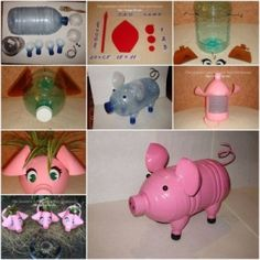 How to make Plastic Bottle Piggy Plant Vase step by step DIY tutorial instructionsplastic bottles and make a pig :-) artsy craft artal uso indiscriminadoCute Pig Out Of ContainersThis is a beautiful pig! Plastic Bottle Planter, Plastic Bottle Flowers, Plastic Bottle Crafts, Bottle Cap Crafts, Recycle Plastic Bottles, Pig Crafts, Cute Crafts, Easy Crafts, Crafts For Kids