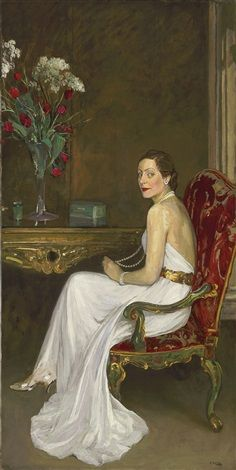Portrait of Viscountess Wimborne, 1937 by Sir John Lavery (Irish .although Irish, Lavery spent much of his formative life and career in Scotland and was a central figure of The Glasgow Boys. Giovanni Boldini, Irish Painters, Irish Art, Pierre Auguste Renoir, Manet, Woman Painting, Portrait Art, Beautiful Paintings, Figurative Art