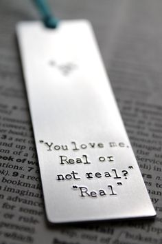 Hunger Games  You Love me  Real or not real  Metal bookmark by MauveMagpie, £8.00