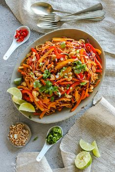 Vegetable Noodle Stir-fry with Peanut Lime Sauce recipes for two recipes fry recipes Tofu Stir Fry, Vegan Stir Fry, Healthy Stir Fry, Stir Fry Noodles, Vegetable Stir Fry Sauce, Peanut Noodles, Pasta Noodles, Fried Vegetables, Chicken And Vegetables