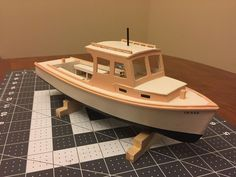 Model lobster boat, made in Maine, scratch building, scratch built, handmade mod. Wooden Model Boats, Wooden Boat Building, Boat Building Plans, Wood Boats, Building For Kids, Model Building, Wooden Car, Wooden Ship, Wooden Toys