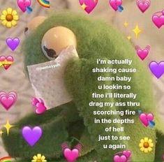 Love You Meme, Cute Love Memes, Heart Meme, Snapchat Stickers, Boyfriend Memes, Cute Messages, Kermit The Frog, Pick Up Lines, Wholesome Memes