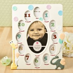 GIRAFFE AND ELEPHANT BABY COLLAGE FRAME