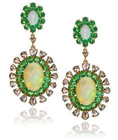 Cellini Jewelers Sutra Jewels Opal and Green Garnet Earrings Garnet Jewelry, Garnet Earrings, Opal Earrings, Opal Jewelry, Statement Earrings, Fine Jewelry, Jewellery, White Gold Diamonds, Rose Gold
