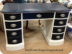 navy blue nautical painted furniture  | ... chalk paint i used a silver metallic spray paint on the hardware