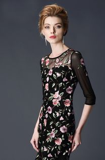 Black Floral Pattern See Through Short Sleeve Designer Dress