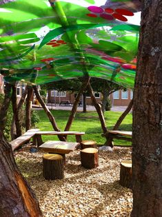 Bothal Middle School, Blyth, Northumberland Close up of seating area in outdoor classroom