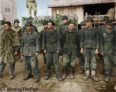 Des prisonniers allemands appartenant au 352.Volksgrenadier Division attendent leur leur prise en charge par les troupes US, quelque part en Belgique, 1944.