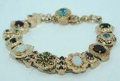 14k Yellow Gold Richard Glatter Victorian 13 Slide Bracelet Heavy 42 3 Grams | eBay