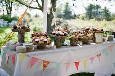 The cupcakes were displayed on wood cake stands made by Stephen and his father.
