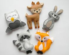 bosques peluches decoración bosque, animales del bosque, bosque vivero decoración, ornamentos del bosques, buho de conejito de fieltro zorro raccon