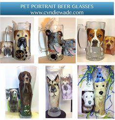 Custom Painted Pet Portrait Beer Mug Beer Pilsner Glass