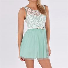 BCX Juniors Belted Dress with Lace Bodice #VonMaur #BCX #Mint #Sheer