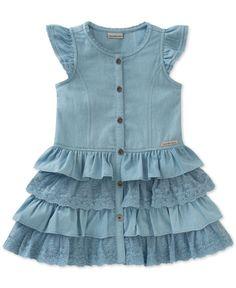 Calvin Klein Denim & Lace Ruffle Dress, Toddler & Little Girls (2T-6X)