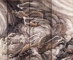 Dragon in Clouds, 円山応挙 Maruyama Okyo. National Treasure of Japan. Pair of folding screens. Corporate collection in Japan. Japanese Art Styles, Japanese Prints, Dragon Images, Japanese Dragon, Sketch Painting, Old Paintings, Japanese Painting, Dope Art, Dragon Art
